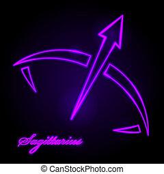 Vector Sagittarius glowing sign