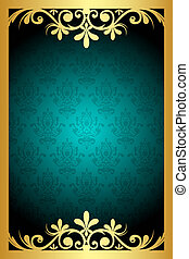 urquoise and gold frame - Vector floral turquoise and gold...