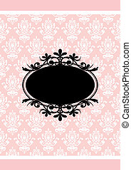 Vector vintage pink and black frame