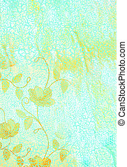 Abstract textured background: yellow floral patterns on blue backdrop