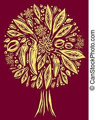 Ilustração, tempero, árvore, FORMA