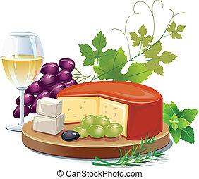 queso, blanco, vino