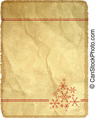 Aged paper with snowflakes
