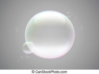 Soap bubble frame - Transparent soap bubble frame on grey...
