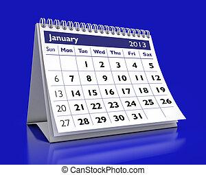 January 2013 Calendar - 3D desktop calendar January 2013 in...