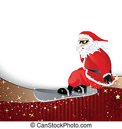 Vector Santa Claus on a Snowboard - Vector Illustration of a...