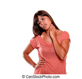 Fatigue young woman with terrible collar pain against white...