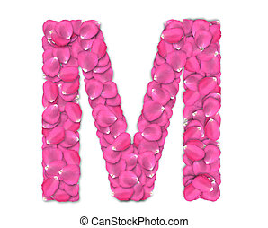 Font from rose petals - Rose petals alphabet with reflection...