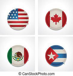 vetorial, Bandeiras, países, tecido