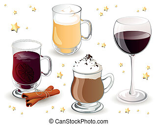 Vector Christmas Drinks - Vector Illustration of Christmas...