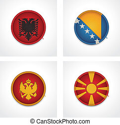 Vector flags of countries as fabric