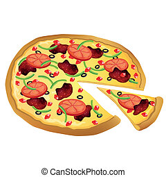 Vector Pizza - Vector Illustration of a Pizza
