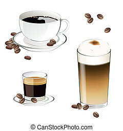 Vector Coffee Elements - Vector Illustration of Coffee...