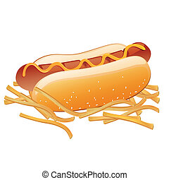 Vector Hot Dog and French Fries