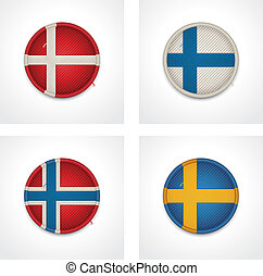 vector, banderas, Países, tela