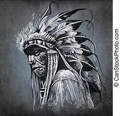 Tattoo art, portrait of american indian head over dark...