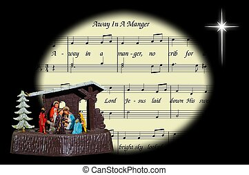 Christmas carol and nativity. - Away in a Manger carol in an...
