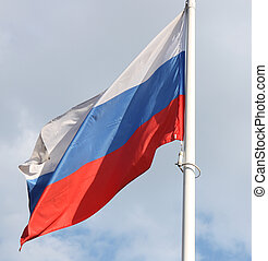 Flag of the Russian federation - Russian flag blowing on a...