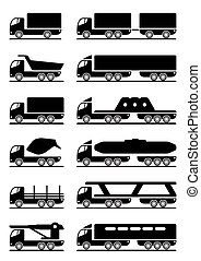 Different types of trucks - vector illustration