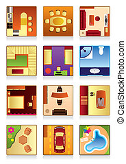 Furniture of the houses rooms - vector illustration