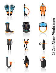 Diving equipmment - vector illustration