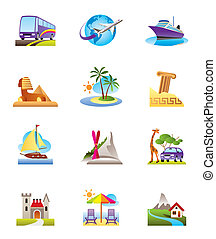 Travel, holidays and vacation icons