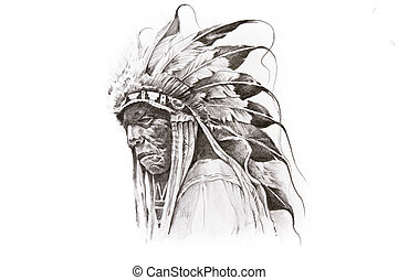 Tattoo sketch of Native American Indian warrior, hand made -...