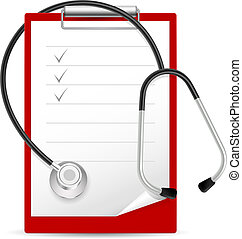 Realistic stethoscope and notes. Illustration on white...