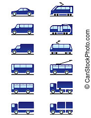 Road and railways transportations icons set - vector...