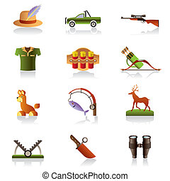 Hunting accessories and symbols - vector illustration