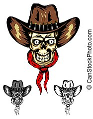 skull cowboy color - Vector image of skull in cowboys hat