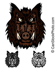 wild boar - Vector image head aggressive wild boar