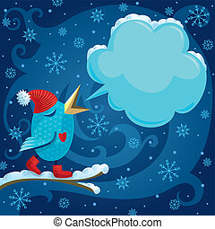 Winter Bird - Vector illustration with blue bird and speech...