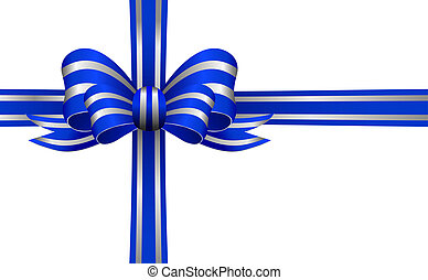 Blue and Silver Bow on a white back - Stylish Blue bow with...