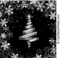 Abstract silver ribbon Christmas tree illustration with...