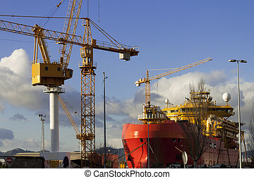 Vigo shipyards - Boat in Vigo shipyards for repairing and...