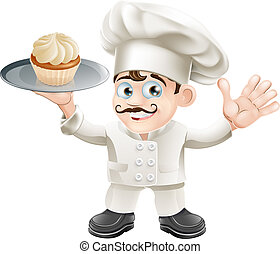 Cake baker - Illustration of a chef or baker with a cake on...