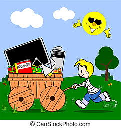 cartoon boy pushing cart - A cartoon boy pushing a wooden...