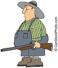 Hillbilly man - This illustration depicts a redneck man...