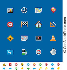 Vector common website icons. GPS