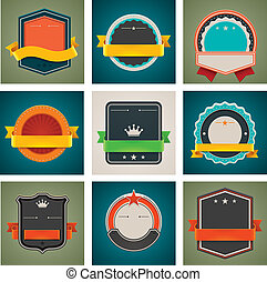 Vector badges set - Set of detailed badges with blank space...