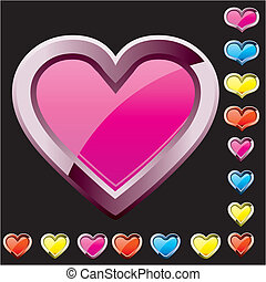 Set of colored heart shape icons, vector illustration