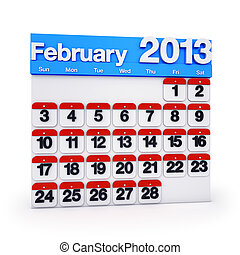 Calendar February 2013 - 3D render colourful Calendar for...