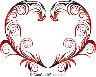 Heart with swirly leaves vector