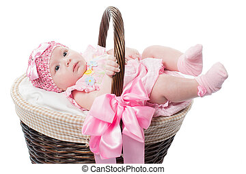 beautiful girl baby in a basket on a white background...