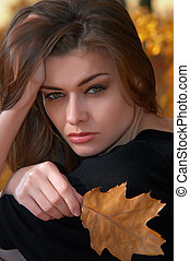 hot young woman in autumn park - Portrait of a hot young...