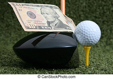 Place your bets - Golf club and ball with a Ten Dollar Bill...