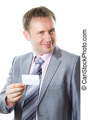 Portrait of handsome  business man with blank card isolated on white background  Studio shot  More of this series on my portfolio