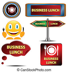 Business lunch set on a white background