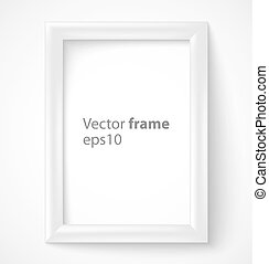 White rectangular 3d photo frame with shadow Vector...
